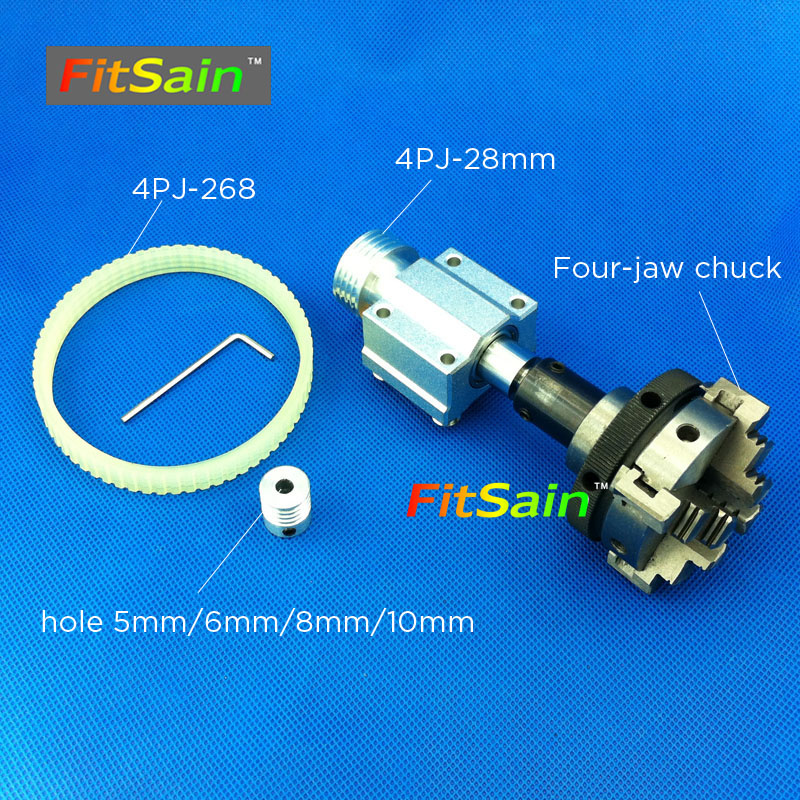 FitSain-hole 5mm/6mm/8mm/10mm pulley four jaw chuck D=50mm Machine Pulley Bench mini Lathe spindle
