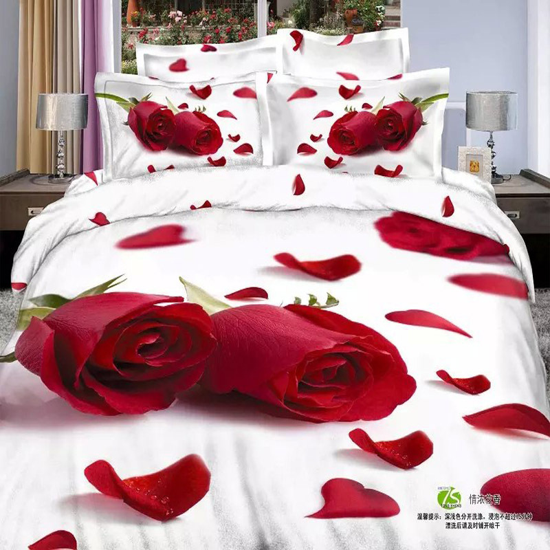 Deep Red Rose White Background Wedding 3d Bedding Set