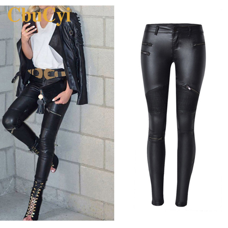 CBUCYI Spring Fashion Women Brand Clothing Sexy Coated   Jeans   Pants Spliced Faux PU Leather Pants Fitness Lady Long Legging Pants