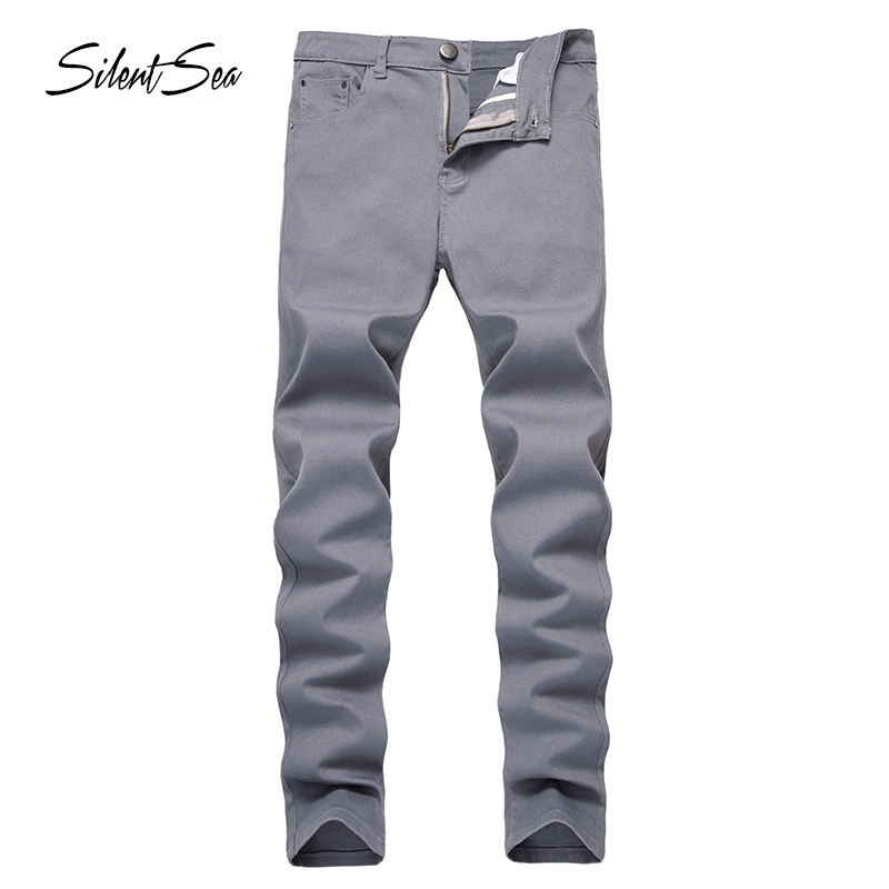 Silentsea Skinny Jeans Men Slim Fit Denim Joggers Stretch Male Jean Pencil Pants Grey Men's Jeans Fashion Casual Hombre Big Size