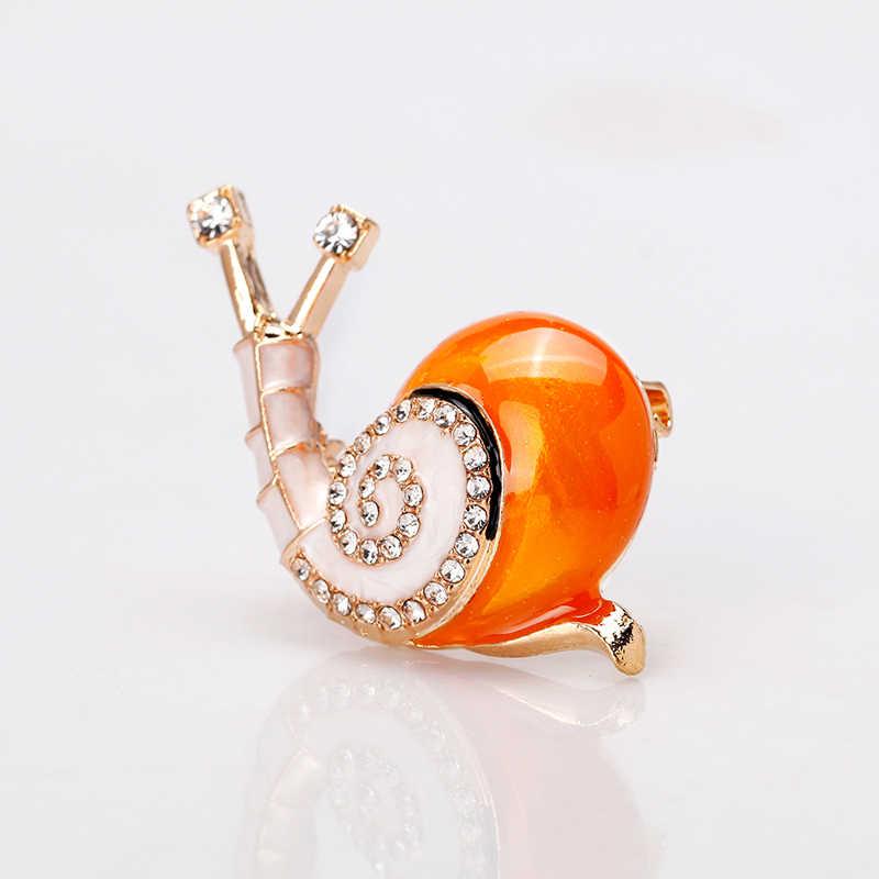 Rinhoo Enamel Lucu Siput Serangga Dekoratif Bros Pin untuk Wanita Pria Crystal Bros Perhiasan Hewan Bros Perhiasan Hadiah