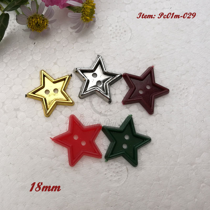 48pcs 18mm 2 holes One / Mixed color Plastic Christmas Star buttons for Decoration Plastic Happy New Year Decor Material