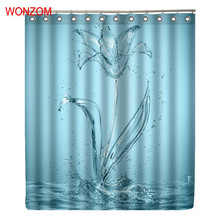 WONZOM Water And Art Curtains with 12 Hooks For Bathroom Decor Modern Bath Waterproof Curtain 2017 New Accessories