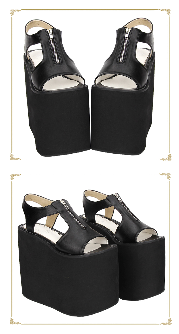 006538801a1 16cm Extreme High Platform Wedge Heel Sandals Zipper Opening Black and  White Leather Sandals