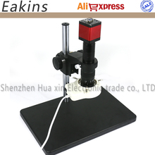 Best price 13MP HDMI VGA Industry Digital  Microscope Camera CCD +Big Stand Universal bracket+180X/300X C-MOUNT Lens+56 LED ring Light