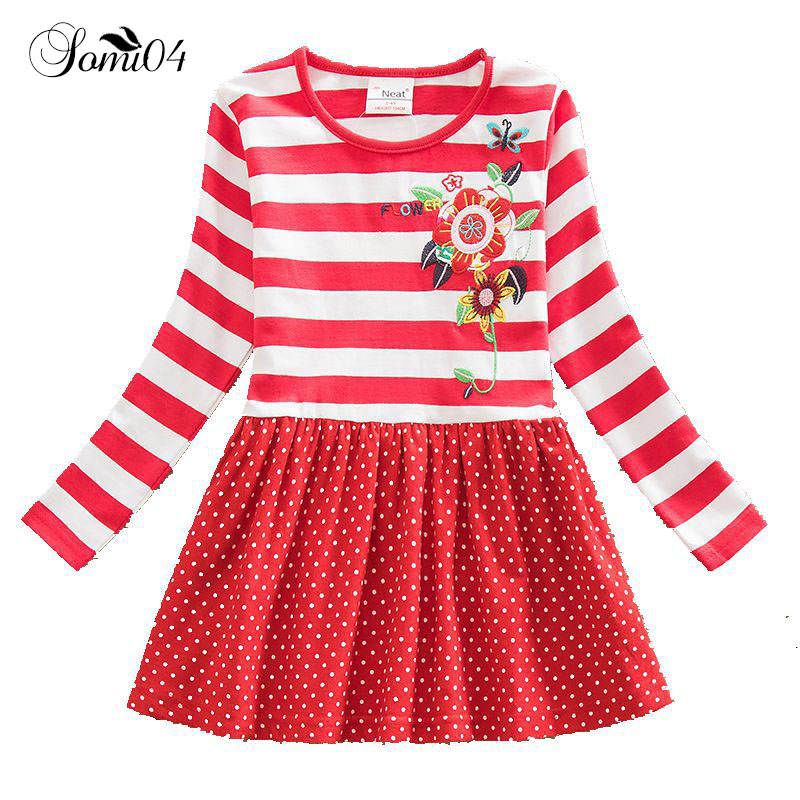 3 4 5 6 7 8 Years Little Girls New Spring Autumn Dress 2018 Kids Embroidery Stripe Long Sleeve Polka Dot Toddler Floral Dresses