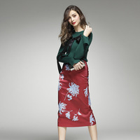 Women Autumn Newest Elegant Lady Fashion Twin Set Green Knitted Blouse Printed Slim Skirt Runway High