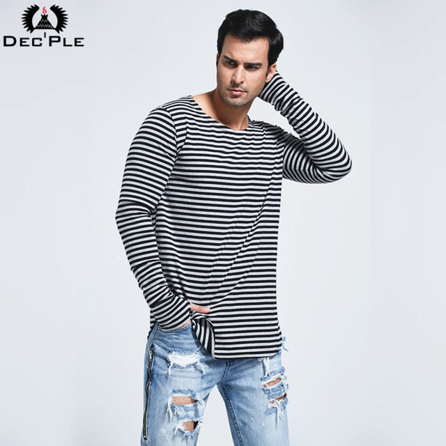 DECPLE Men's T Shirt long type 2017 Spring New O-neck Long Sleeve Fashion High Street Style striped Tees For Men Cosy Cotton Top