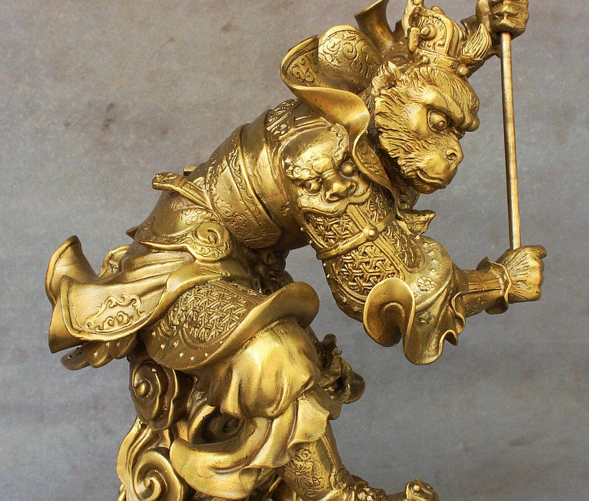 Chinese antique pure brass Sun Wukong lucky  Monkey King copper Pendant 齐天大圣