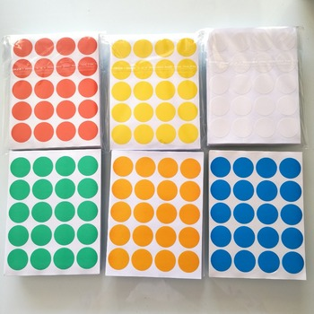 12000 pcs/lot Diameter 20mm Colorful round paper sticker, white/yellow/red/green/blue/orange, Item No.OF23