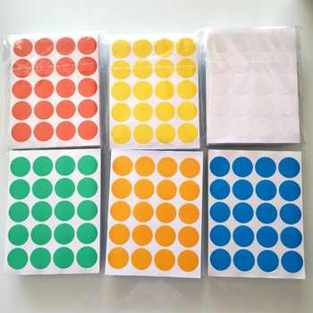 24000 pcs/lot Diameter 20mm Colorful round paper sticker, white/yellow/red/green/blue/orange, Item No.OF23 - SALE ITEM Office & School Supplies