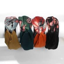 Women Retro Flower Print Hairband Bow Headband Hair Hoop Wide Patchwork Cloth Bands Accessories