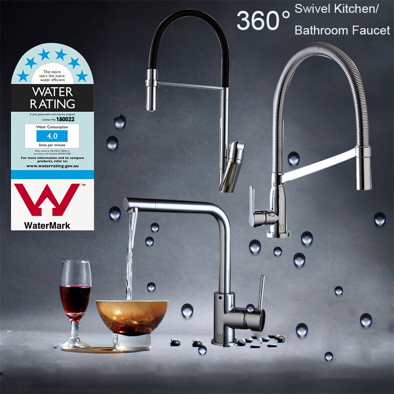 AU 360 Swivel Kitchen Basin Sink Faucet Deck Mounted Vessel Sink Mixer Tap Pull Out Spout Hot & Cold Mixer Chrome Finished Taps led spout swivel spout kitchen faucet vessel sink mixer tap chrome finish solid brass free shipping hot sale