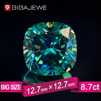GIGAJEWE Excellent Quality Big Size Cut Cyan Blue color 8.7ct Cushion Moissanite Loose Stone Synthetic Beads for jewelry making