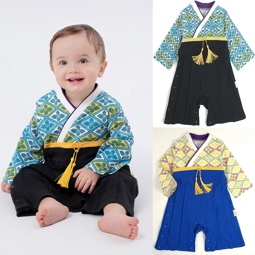 2019 News Traditional Japanese Style Kimono Floral Romper Jumpsuit Asian Clothes Baby Girl Boy Yukata Halloween Costume For Kids