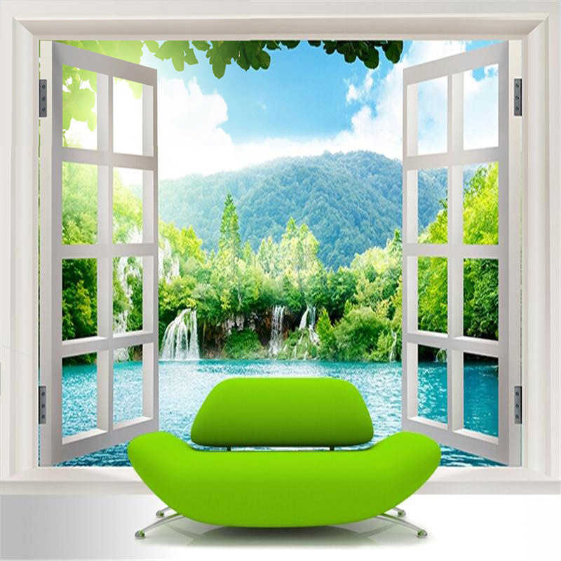Custom mural wallpaper 3d window waterfall forest for Decorative mural painting
