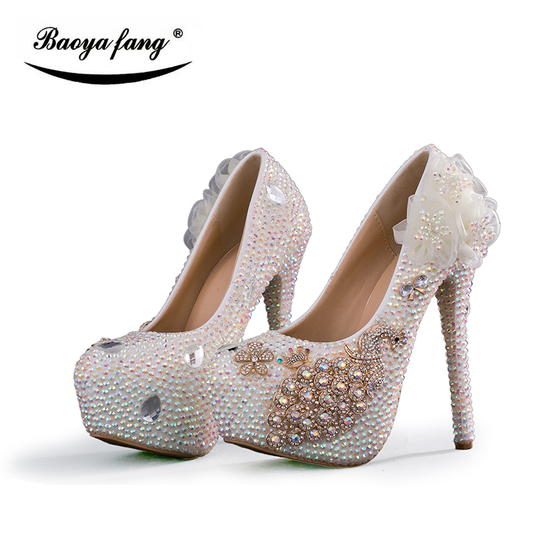 Shining Crystal Flower Wedding shoes Bridal high heels platform shoes fashion ladies Party dress shoes woman peacock moruancle men s baggy cargo jeans pants loose straight tactical denim trousers for big and tall size 29 46 side zipper pockets