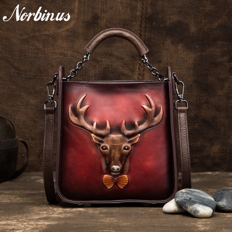 Norbinus Women Genuine Leather Shoulder Messenger Tote Bags Retro Deer Pattern Handbag Cowhide Crossbody Flap Top Handle Bag NewNorbinus Women Genuine Leather Shoulder Messenger Tote Bags Retro Deer Pattern Handbag Cowhide Crossbody Flap Top Handle Bag New