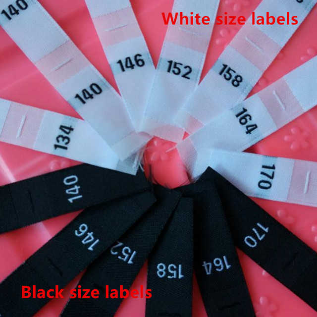 White Black Polyester Woven Cloth Number Size Label Baby Clothes 134