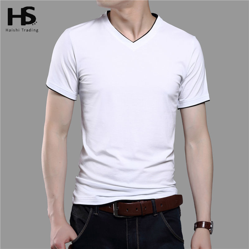 Free shipping solid color t shirt men 2016 summer new for Mens colored t shirts