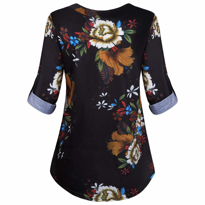 5XL Mais Mulheres do Tamanho Túnica Camisa 2019 Outono Longo Da Luva da Cópia Floral Com Decote Em V Blusas E Tops Com Botão Tamanho Grande roupas femininas