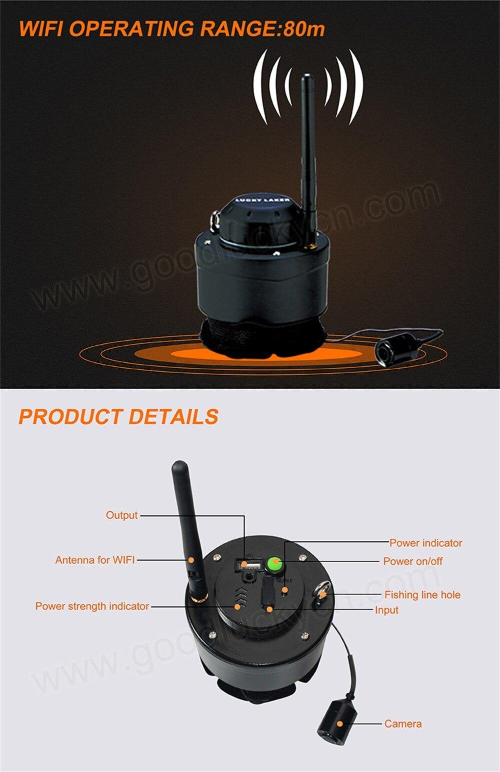 Lucky Fishing Finder 80m Wifi Беспроводная рыболовная инспекционная подводная камера FF3309