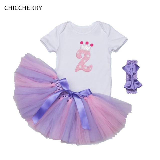 Crown 2 Years Birthday Tutu Outfits Princess Baby Girl Bodysuit Set Party Lace Skirt Robe Bebe Infant Summer Jumpsuit Clothes