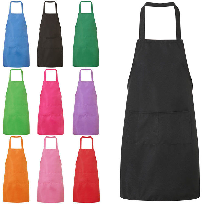 Bib Apron Cooking Kitchen Restauarant House-hold BBQ Dress With Pocket Colorful