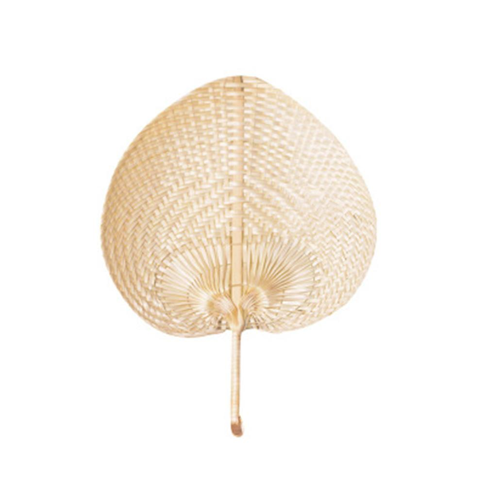 Chinese Style Handmade Fan Natural Hand Weaving Palm Leaf Pure DIY Heart Shaped Bamboo Woven Summer Cooling