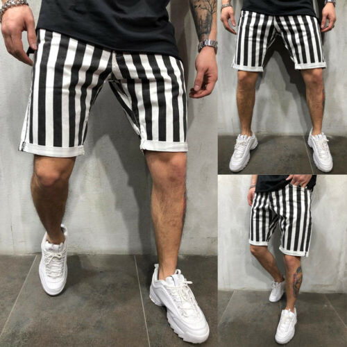 Stylish Hot Sale Men Black White Striped Plaid Loose Gym Fitness Shorts Running Sport Workout Casual Jogging Sweat Shorts M-XXL
