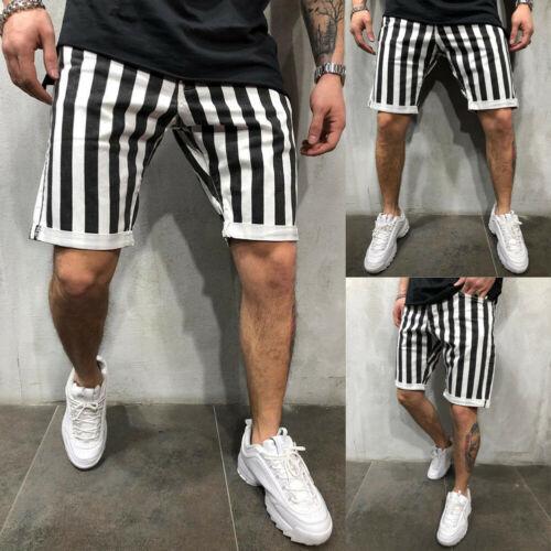 Stylish Hot Sale Men Black White Striped Plaid Loose Gym Fitness Shorts Running Sport Workout Casual Jogging Sweat Shorts M-XXL