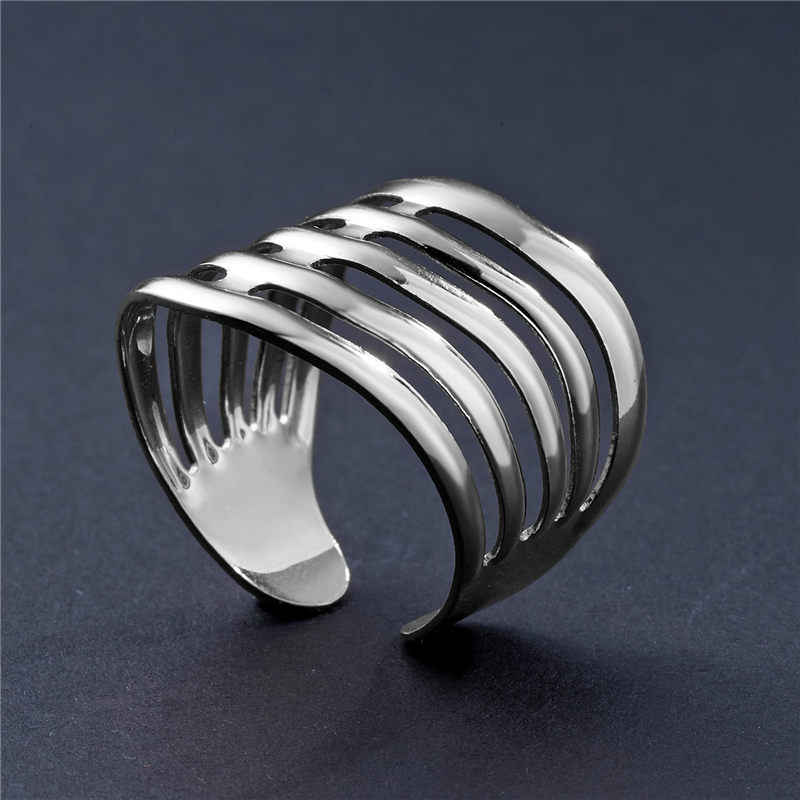 2019 New Fashion Silver Geometric Arched Stripes Hollowed Out Opening Ring  For Women Punk Alloy Finger Rings Simple Boho