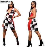 Black And White Plaid Print Bodycon Bodysuit Zipper Motocycle Wear Bandage Playsuits Summer Style 2018 Jumpsuits Shorts Rock