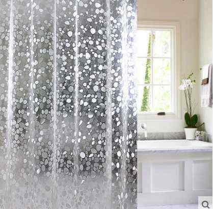 Placeholder Kingart PVC Transparent Shower Curtain Home Bathroom Solid Color Hotel Hook Or Double Pleated Waterproof