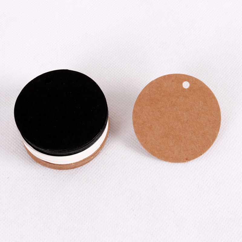 100Pcs 5x5cm DIY Blank Round Shape Kraft Paper Tags/gift Decorated Card/baking Price Tags/labels/message Card With Rope 3Colors