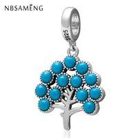2018 Original 925 Sterling Silver Bead Natural Crystal Tree of Life Pendants Charm Beads Fit Pandora Bracelets DIY Jewelry