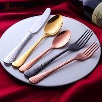 Oro al por mayor restaurante cubiertos Set rosa de oro Acero inoxidable 18/10 ecológico lujo cuchillo tenedor vajilla 5 piezas
