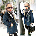 Baby girl jacket winter kids Winter Hooded Coat children Padded Denim coat Cotton Thick Outerwear plus velvet thickening Parkas