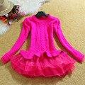 Otoño Invierno Pullover Mujeres Suéter 2016 Nueva Moda de Corea del Organza Patchwork Parte Inferior Rizada Peplum Tops Señoras Jumpers