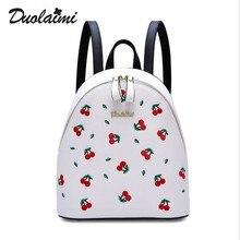 Модные цветочные искусственная кожа рюкзак Для женщин Вышивка школьная сумка для подростков Обувь для девочек Брендовая женская рюкзак красная вишня SAC DOS