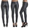 Новый эластичный кожаные штаны молния твердые леггинсы тощие женщины полные брюки Большой размер для женщин дамы feminino