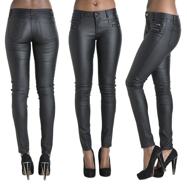 Nueva elástico de la cremallera sólido las polainas flacas mujeres pantalones largos plus tamaño para mujer las señoras feminino