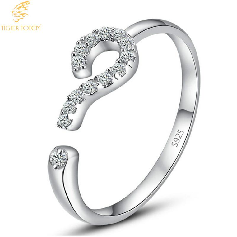 tiger totem Free Shipping Top Quality popular color Ring opening question mark confession of love wild crystal women jewelry