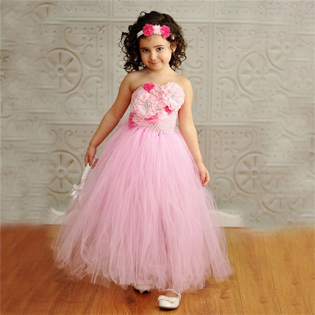 Girls Pink Crochet Lace Flowers Tutu Dress Kids Fluffy Corset Tulle ...