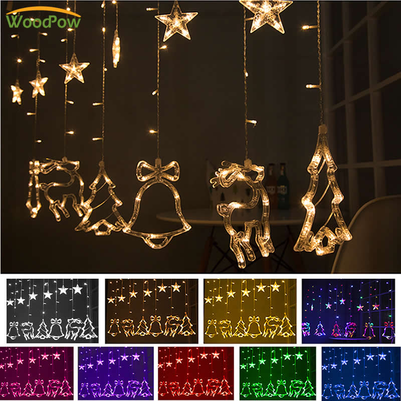 WoodPow 3M 12LED Holiday Party Light Window Christmas Decoration Light Curtain String Light Stars/Bell/Deer/Tree Outdoor Light fashion deer bell head band christmas decorations