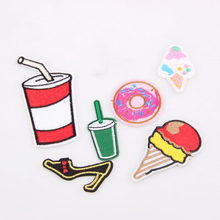 New Arrival 1PCS High-heeled shoes Cola Ice Cream DIY Embroidered patches Iron On Cartoon Brooch Applique Embroidery Accessory(China)