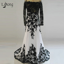 Gorgeous Black and White Evening Dress Chiffon Off the Shoulder Boat Neck Appliques Mermaid Long Sleeves