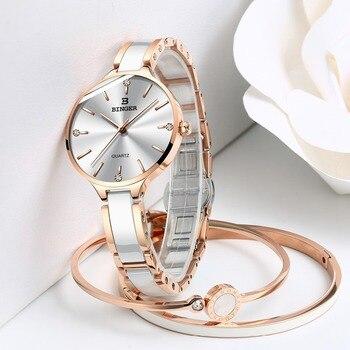 Zegarek damski Switzerland BINGER Fashion Women Watch Luxury Brand Bracelets Ceramic Watch band Sapphire Waterproof Montre femme 5