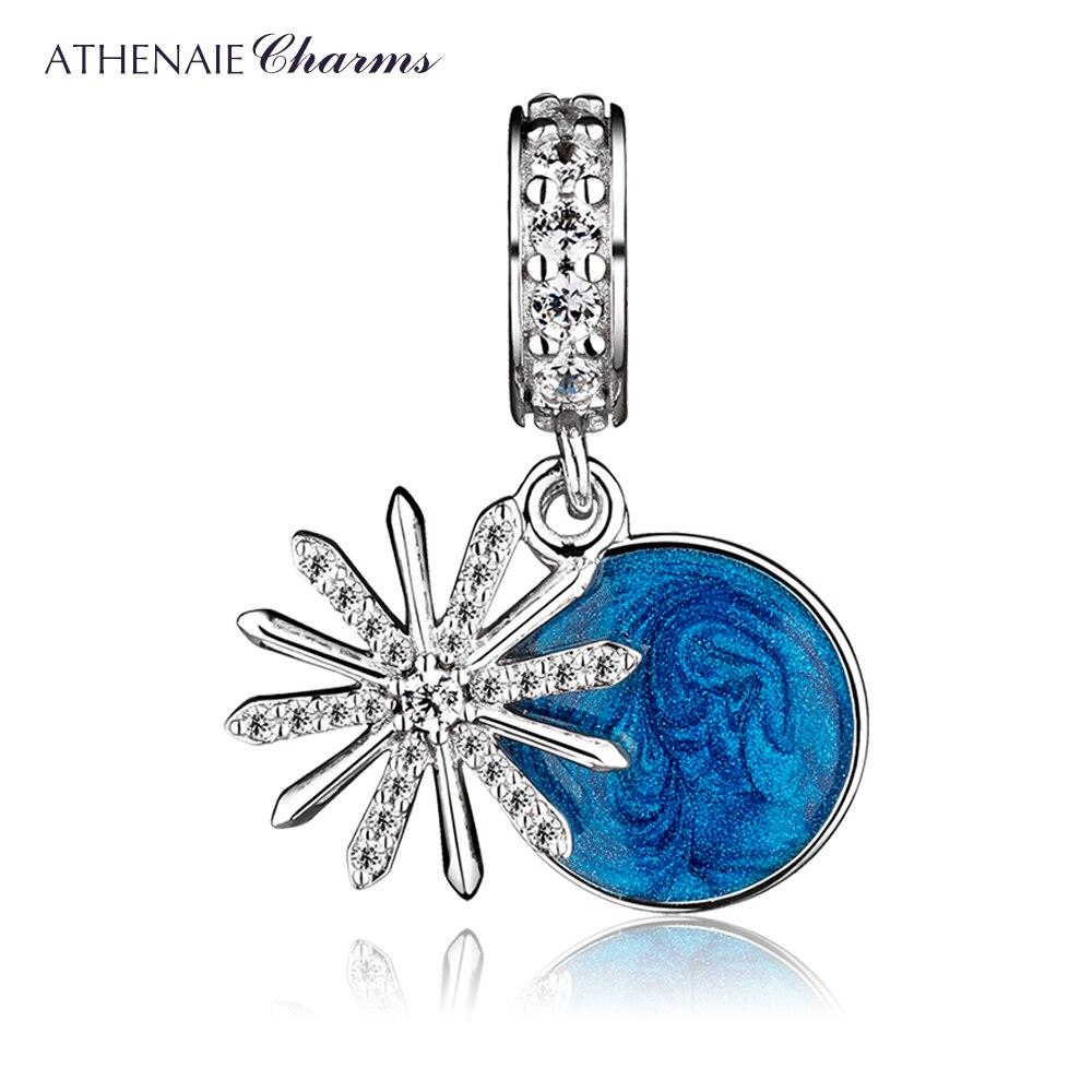 ATHENAIE 925 Sterling Silver Limpar CZ & Esmalte Azul Deslumbrante Desejos Oscila Encantos Original Jóias DIY para Pulseira Europeu