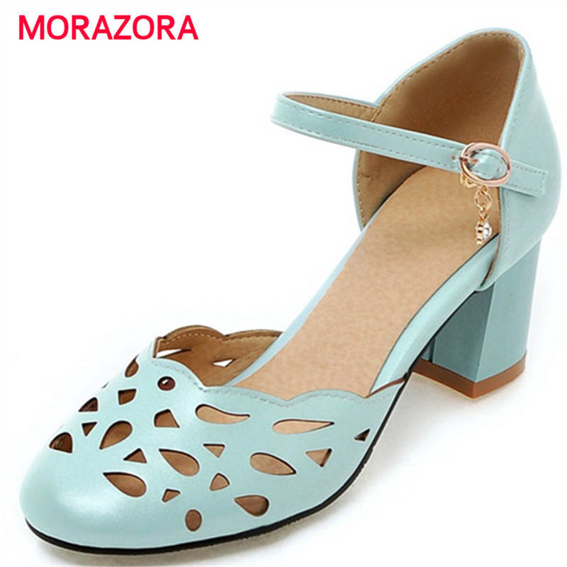 MORAZORA High heels shoes 6.5cm summer party shoes woman PU soft leather pumps shoes solid buckle solid sweet hollow outMORAZORA High heels shoes 6.5cm summer party shoes woman PU soft leather pumps shoes solid buckle solid sweet hollow out